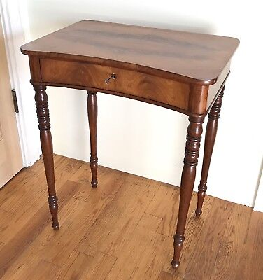 Rare, Antique Sewing Table w/ book matched walnut, keyhole drawer, turned legs