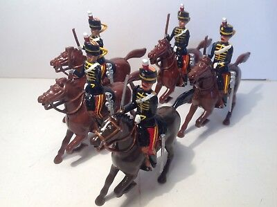 Britains modern metal 11th Hussars with Officer x 5.
