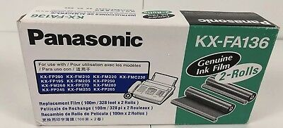 NEW Genuine PANASONIC KX-FA136 Fax Toner Replacement Ink Film 2 Roll Pack