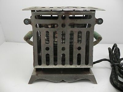 Antique Electric Art Deco 2 Sided Sliced Toaster Green Handle Early 1900's Works