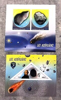 2 Ivory Coast Sheet Imperforated With Space And Asteroids