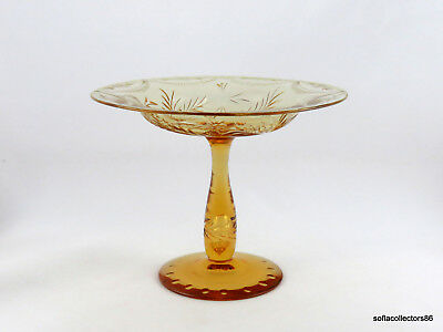 Union Glass Champagne Crystal Comport / Compote Cut Floral Décor & Air Trap Stem