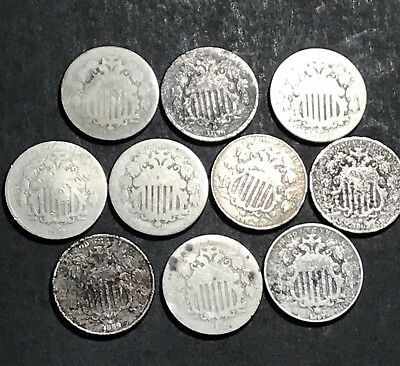 Lot of 10 Shield Nickels Low Grade Old US Post Civil War Coins .99 Start
