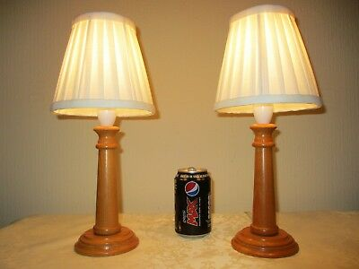 Pair Of Vintage Solid Pine Bedside Table Lamps With Vintage Shades