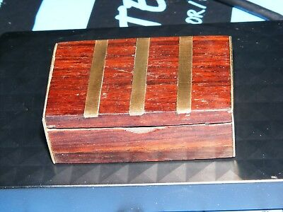 Antique Small Wooden Box with Brass Inlay Hinged Lid Hand Carved