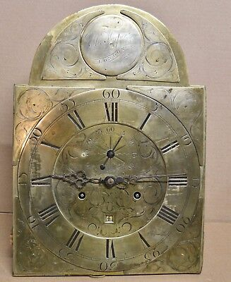 8 Day Time Strike Tall Case Clock Movement Dial Signed Henry Harper London 1700