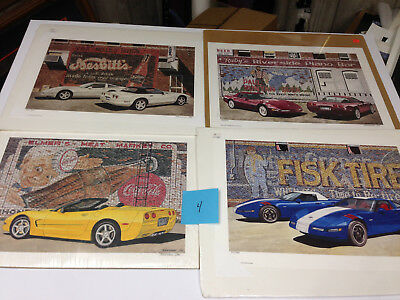 Lot Of 4 New old stock limited edition art prints Dana Forrester Corvette  lot 4