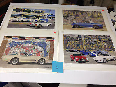 Lot Of 4 New old stock limited edition art prints Dana Forrester Corvette  lot 2