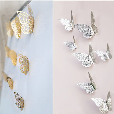 12 Pcs 3D Hollow Wall Stickers Butterfly Fridge Home Decoration Wall Stickers