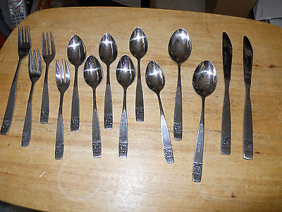 """Vintage National Stainless Japan """"Black Rose"""" Stainless Flatware Mixed Lot of 14"""