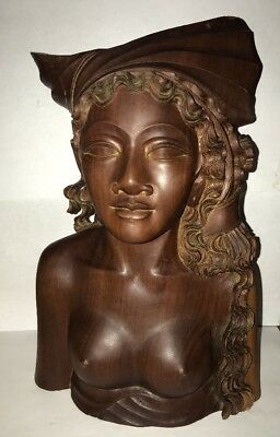 "Bali Sculpture Balinese Wood Carved Statue Woman Bust Figure Lady 10"" MCM"