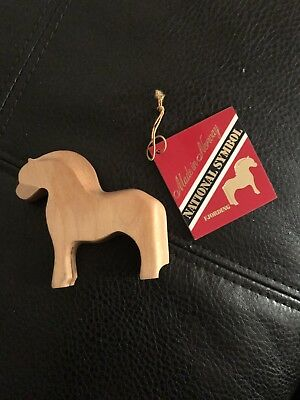 """THE FJORDING: THE NORWEGIAN FJORDHORSE National Norway Symbol WOOD Carved 4.5"""""""