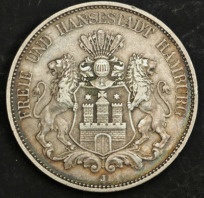 1876, Hamburg (Free Hanseatic City). Large Silver 5 Mark Coin. (XF++) Rare Date!