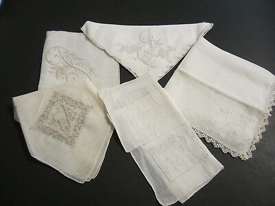 Lot Of 5 Vintage Handkerchiefs, (2) With Madeira Label