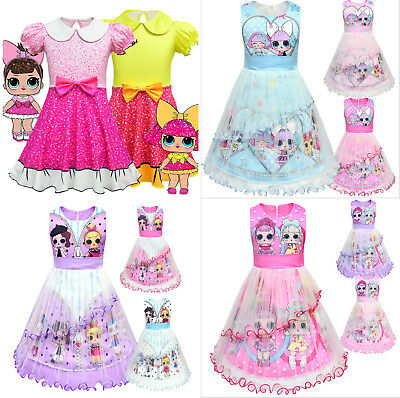 Girls Lol Surprise Doll  Princess Dress Kids Fancy Party Holiday Birthday Dress
