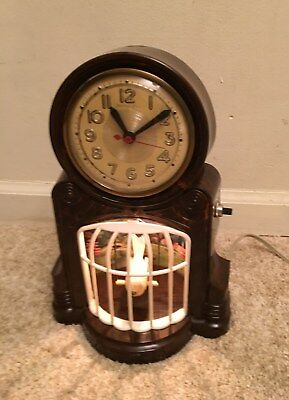 """1950's Mastercrafters """" Bird On A Swing """"  Animated Motion Clock - Needs Work"""