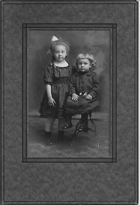 """antique 4"""" by 6"""" cabinet photograph of 2 BEAUTIFUL children in folder - EXC cond"""