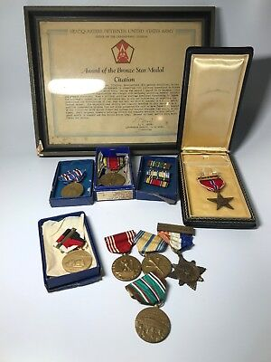 Lot of WWII WW2 Medals Ribbons & Bronze Star Medal W/ General Gerow Signature