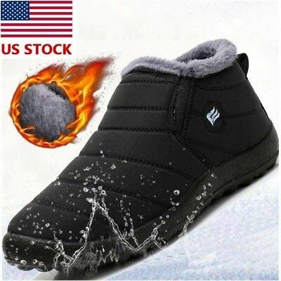 Winter Men's Snow Boots Plush Warm Fur Lined Anti-slip Waterproof Cotton Shoes