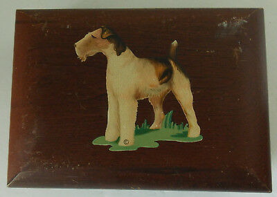 Vintage Airedale Terrier Dog Wooden Trinket Jewelry Box
