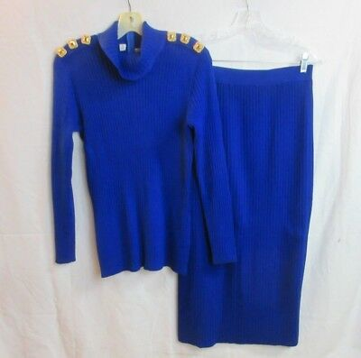 ST John Collection 2 Pc Blue Knit Sweater Skirt Set SZ S/8 Marie Gray Vintage