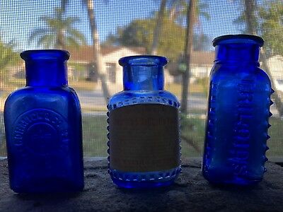 ANTIQUE cobalt EARLY McCORMICK & Co. Balto BEE BRAND  Bottle MD, + 2 more
