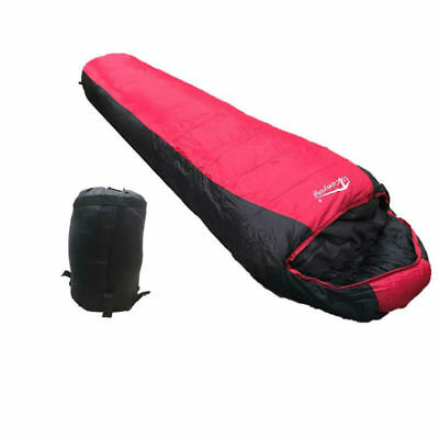 -5°C Outdoor Camping Thermal Sleeping Bag Tent Hiking Winter 220x80cm Red Black