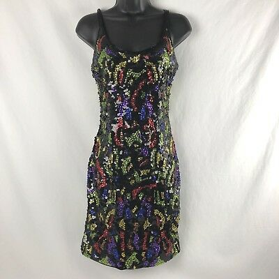 Vintage S Black Colorful Beaded Sequined Dress Formal Cocktail Party Fitted