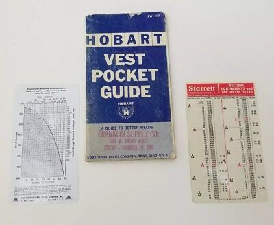 Vtg Hobart Vest Pocket Guide EW-310 Pocket Cards Starrett International Nickel