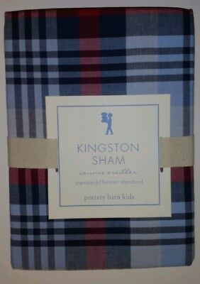 2- Pottery Barn Kids Kingston Red White Blue Plaid Standard Shams ~ New