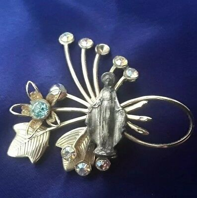 Vintage Antique Gold-Toned Virgin Mary Pin Brooch w/ blue & multicolored crystal