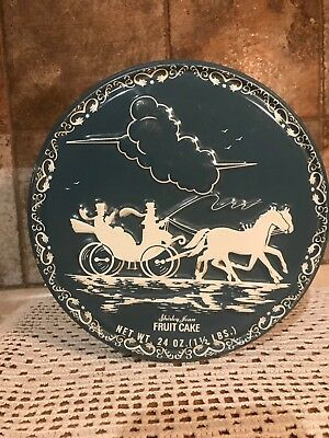 Vintage Shirley Jean Fruit Cake Tin With Horse and Carriage