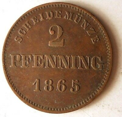 1865 GERMAN STATES (BAVARIA) 2 PFENNIG - RARE - Great Vintage Coin - Lot #J17