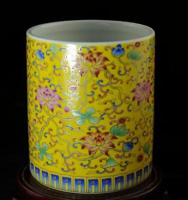 chinese old hand-made pastel porcelain hand painted flower brush pot b02