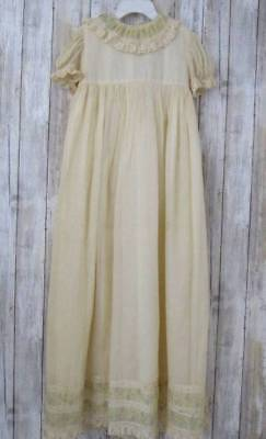 """Vintage Infant Christening Gown Embroidered Lace Ivory Cotton Batiste Voile 38"""""""