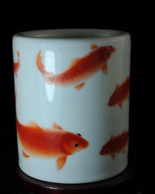 chinese old hand-made pastel porcelain hand painted goldfish brush pot b02