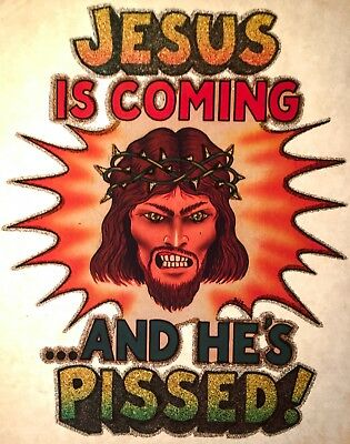 VTG Jesus Christian hippie angry funny love politics rock God t-shirt iron-on