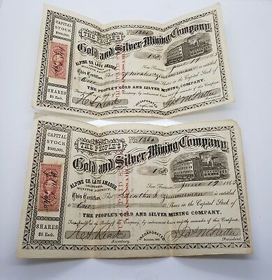 2 Sequential The Peoples Gold And Silver Mining Certificate 1865 California Rare