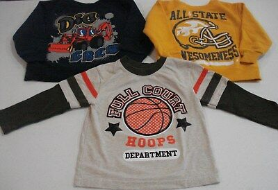Toddler Boys Size 3T Long Sleeve Shirts Lot of 3 Tractor Football Basketball