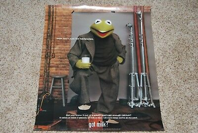 """1999 Muppet KERMIT The FROG  got milk?  19"""" by 25"""" POSTER, Paper Advertising"""