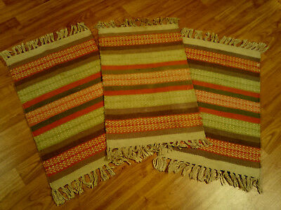 """3 Non Navajo Hand Loomed Southwest Style Geometric Rugs 21"""" x 12.8"""" w/ Fringes"""
