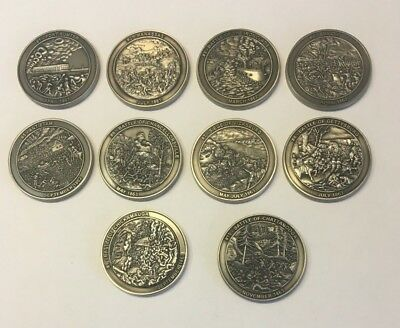 Full Set of 10 Civil War Unactivated Trackable Geocoins
