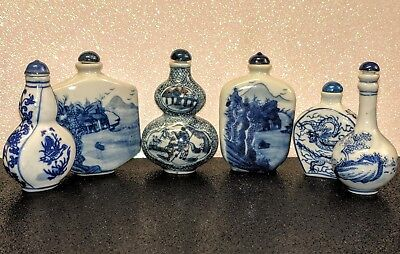 Vintage Antique Collection of Asian Chinese Porcelain Blue Perfume Snuff Bottles