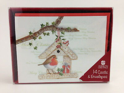 Christmas Cards Box of 14 British Robin Red Breast Bird Winter Tree House 5x4""