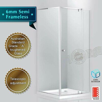 6mm Adjustable Shower Screen -- Front (770-1200)mm Return: (800-1000)mm