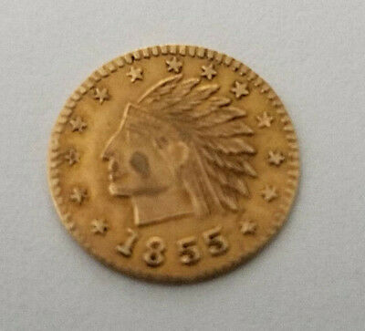 1855 Liberty Fractional California Gold Coin Very Nice Looking, AU or better (7)