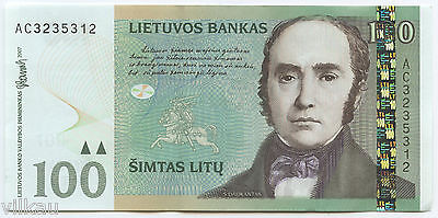 100 Litas Early Banknote of Lithuania - 2007 Crisp Uncirculated