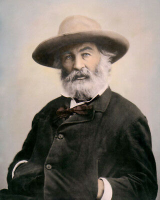 "WALTER ""WALT"" WHITMAN POET & JOURNALIST hat 8x10"" HAND COLOR TINTED PHOTOGRAPH"