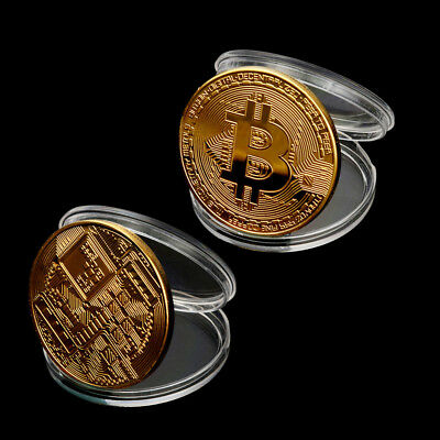 BITCOIN!! Gold Plated Physical Bitcoin in protective acrylic case 2-Pack 2019
