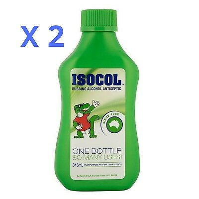 2 X Isopropyl Rubbing Alcohol 345mL ISOCOL Antiseptic Antibacterial First Aid